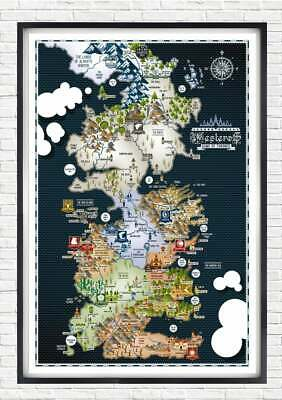 £12.03 • Buy Game Of Thrones - Westeros Map Poster Print Wall Hanging Home Decor Cool Gift