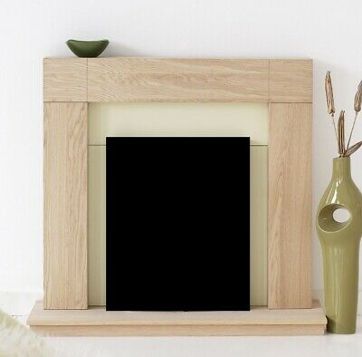 £173.99 • Buy Electric Fire Oak Cream Wooden Fireplace Surround Hearth And Back Panel Bnib