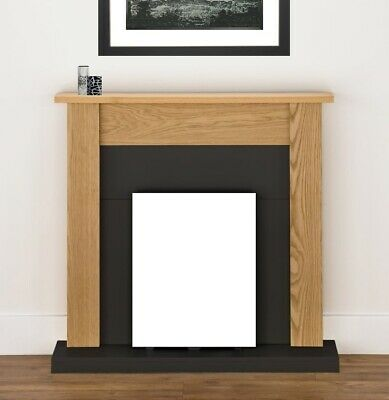 £174.99 • Buy Electric Fire Oak Black Wooden Fireplace Surround Hearth And Back Panel Bnib