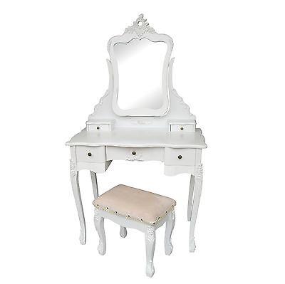 £199 • Buy SECONDS French Style Vanity White Dressing Table Makeup Desk Mirror Stool Set
