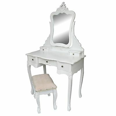 £199 • Buy SECONDS Vanity White French Style Dressing Table Makeup Desk Mirror Stool Set