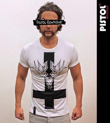 £24.99 • Buy Pistol Boutique Men's Fitted White Crew Neck SWALLOWS HEART CROSS T-shirt