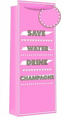 £1.20 • Buy Save Water Drink Champagne Bottle Gift Bag Pink & Gold Birthday Present