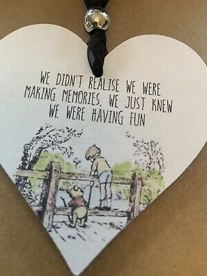 £2.59 • Buy Winnie The Pooh Memories Wooden Heart Hanging Decoration Sign Plaque Gift (3)
