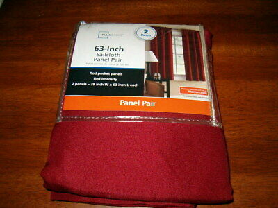 $19.95 • Buy MAINSTAYS  SAILCLOTH WINDOW CURTAIN PAIR * Red Intensity New