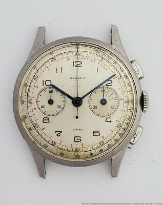 $ CDN443.68 • Buy Vintage Gallet Original Dial Complicated High Grade Swiss Chronograph For Parts