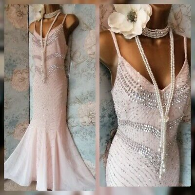 AU115.62 • Buy Asos Lace & Beads Nude Pink Deco 20s Gatsby Wedding Prom Party Evening Dress 10