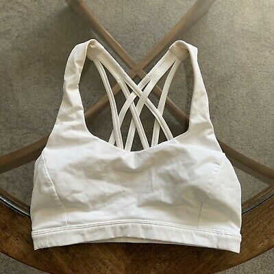 $ CDN43.18 • Buy Lululemon Free To Be Serene Sports Bra White US 4 UK 8 EUC Yoga Gym Bralet Lulu