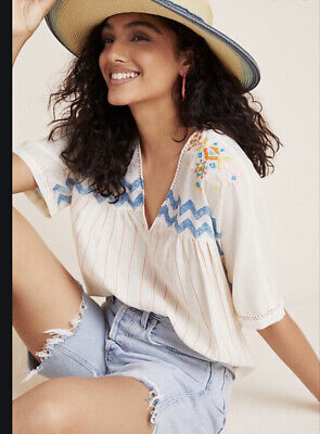 $ CDN53.38 • Buy Anthropologie Vineet Bahl Womens Embroidered Top Large L Excellent