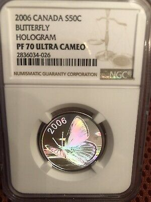 $439.95 • Buy 2006 PF70 Ultra Cameo Canada Hologram Silver 50c Butterfly Coin