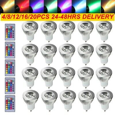 £13.59 • Buy 12Pcs GU10 RGB LED Light Bulbs Lamp 4W 16-Color Changing Dimmable RC Remote Spot