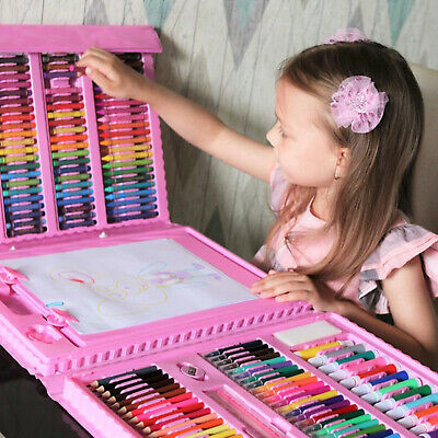 £15.59 • Buy 208PCS Kids Colouring Set Drawing Art Case Pencils Painting Childrens W/ Crafts