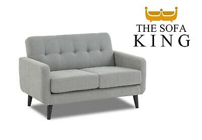 £259 • Buy Light Grey Fabric Sofa 2 Seater - FREE NEXT DAY DELIVERY - Compact Easy Delivery