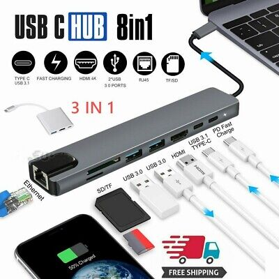 AU37.89 • Buy Type C To USB3.0 HDMI 4K SD/TF Reader OTG Hub Adapter For Macbook Air Pro Laptop