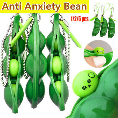 3x Stress Relief Toy Anti-Anxiety Toy Adults Autism Pea Pod Keyring Squeezy Bean