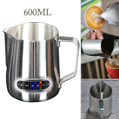 £7.99 • Buy 600ml Stainless Steel Milk Jug Frothing Frother Coffee Latte Pitcher Thermometer