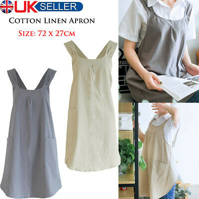 £9.49 • Buy Japanese Style Womens Cotton Linen Home Kitchen Apron Soft Washable With Pockets