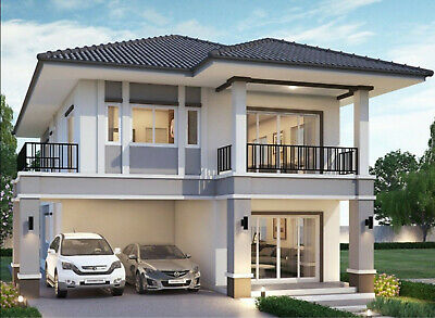 Custom  Duplex House Home Building 5 Bedroom 3 Bathroom Plans With Garage CAD • 26.20£