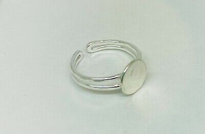 £7.75 • Buy Sterling Silver Adjustable Ring Blanks With 9mm Round Gluing Pad