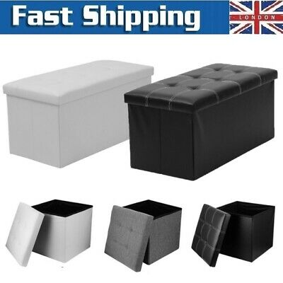 Faux Leather Ottoman Pouffe Large Storage Box Foot Stools 1&2 Seater Bench Seat • 18.99£