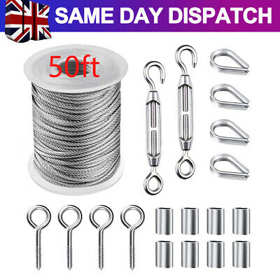 £12.59 • Buy 50ft Stainless Steel Garden Wire Cable Railing Rope Turnbuckle Wire Tensioner