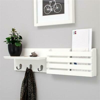 $29.44 • Buy Wall Mount Wooden Mail & Key Holder Organizer Mail Sorter With 3 Key Hooks