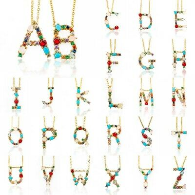 £4 • Buy Initial Multicolor CZ Necklace Personalized Letter Necklace Jewelry Women Gift