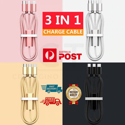 AU4.85 • Buy 3 In 1 Multi USB Charger Charging Cable Cord For IPhone Micro USB TYPE C Android