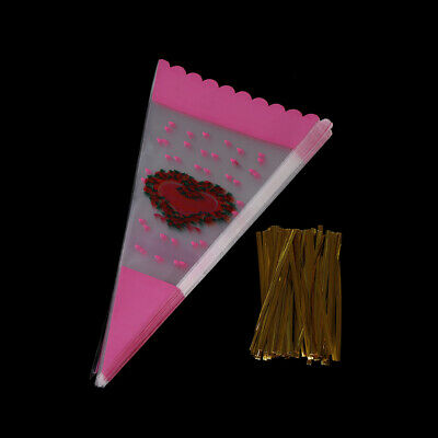 100X Colorful Cone Shape Cellophane Bags Candy Sugar Popcorn Flower Packing DSUK • 3.16£