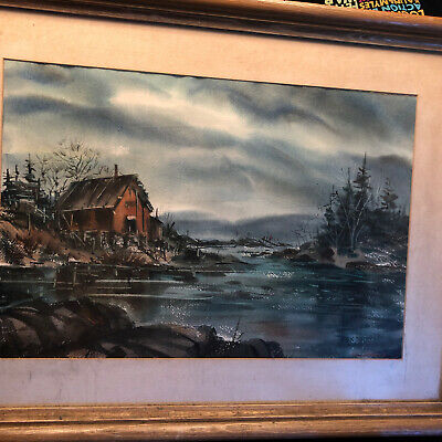 $289.99 • Buy Wonderful Vintage Watercolor Coastal Maine Painting E.L. Stearly