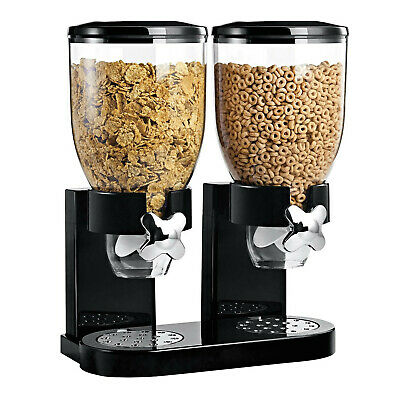 £10.99 • Buy Double Cereal Dispenser Kitchen Storage Container Dry Food Pasta Grain Rice Nuts