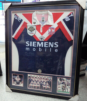 AU1500 • Buy Framed  2000 Grandfinal Rugby League Sydney Roosters Player's Jersey - Signed