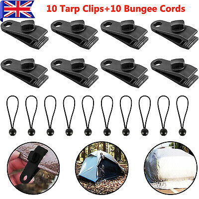 20PCS Tent Tarp Clips Heavy Duty Lock Grip Clamps Fasteners Holder Bungee Cord  • 12.99£