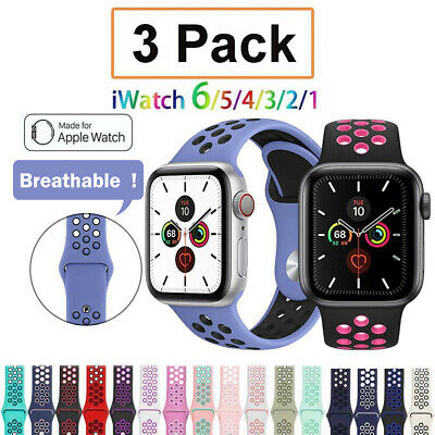 AU16.99 • Buy 3 PACK Silicone Sport Band Strap For Apple Watch 6 5 4 3 SE 2  IWatch 38 44mm 40
