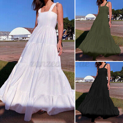 AU20.57 • Buy Women Party Gown Night Evening Square Neck Full Length Long Maxi Shirt Dress NEW