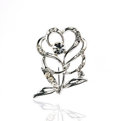 £3.72 • Buy Women Tulip Silver Brooch Pin Medium Size For Wedding Dress Party Prom BR354