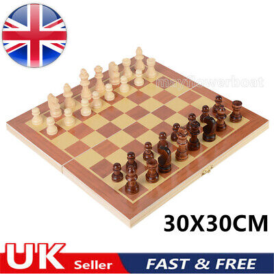£10.99 • Buy Large Chess Wooden Set Folding Chessboard Pieces Wood Board Games Travel Family