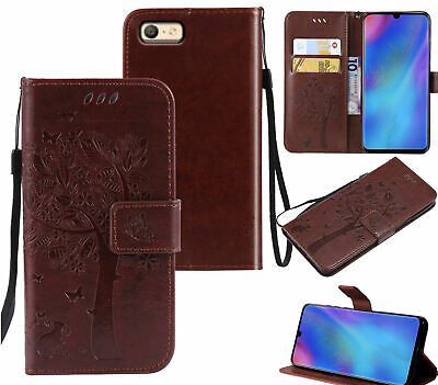 AU10.95 • Buy Oppo A39 A57 Wallet Case Embossed Pu Leather Cat And Tree