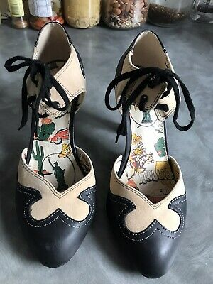 AU59 • Buy MISS L FIRE Two Tone Rockabilly Shoes 40