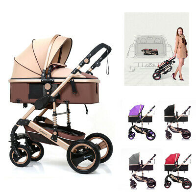 AU155.15 • Buy Khaki Baby Stroller Foldable Carriage 9 In 1 Luxury Buggy Bassinet Travel System