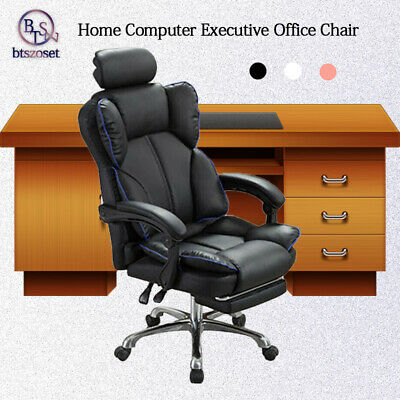 AU178.13 • Buy PU Leather Office Chair Recliner  W/ Footrest Swivel Ergonomic Desk Chair Gaming
