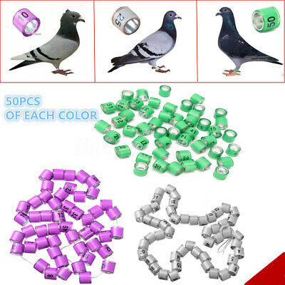 £10.34 • Buy 4/8mm 1-50/100 Numbered Clip Snap Bird Ring Leg Canary Grouped For Parrot Finch