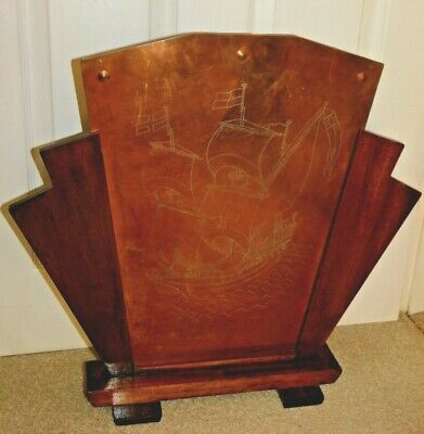 £65 • Buy Small Art Deco Geometric Oak Fire Screen With Engraved Galleon On Studded Copper