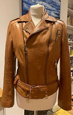 £55 • Buy Beautiful Quality Italian Leather Biker Jacket Tan With Gold Accents M Rrp £200