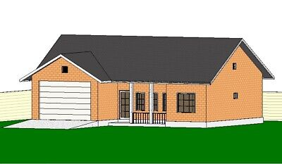 50' X 40' Ranch House Home Building Plans 3 Bedroom 2 Bathroom With CAD File • 7.15£