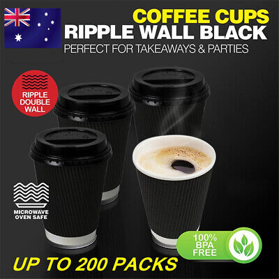 AU23.99 • Buy Disposable Paper Coffee Cups Lids Drinking Water Cup Party Double Wall Takeaway