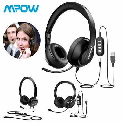 £22.99 • Buy Mpow USB Noise Cancelling Microphone Computer PC Headset Headphones Call Centre