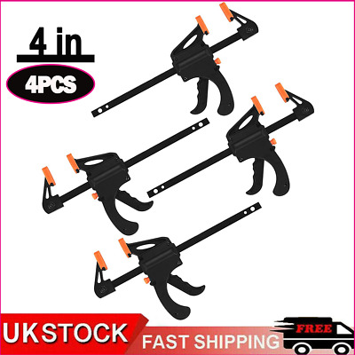 £7.99 • Buy 4Pcs 4 Inch Woodworking F-Clamps Grip Clamps Quick Grip Wood Carpenter Tool UK