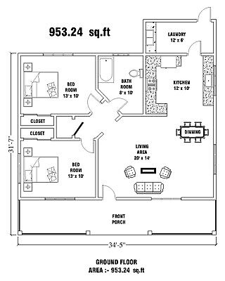 34' X 31' Modern Tiny House Plans 953 Sq.ft - 2 Bed & 1 Bath Room With CAD File • 7.15£