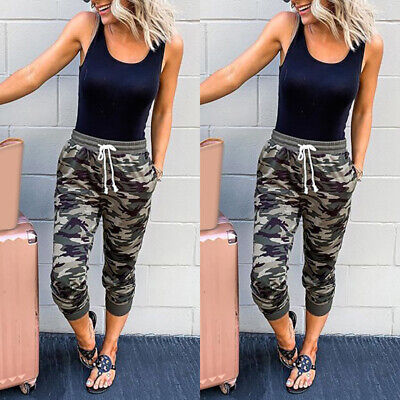£9.79 • Buy UK Womens Camo Cargo Joggers Cropped Trousers Ladies Jogging Bottoms Pants 10-16
